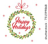 christmas garland greeting card | Shutterstock .eps vector #751599868