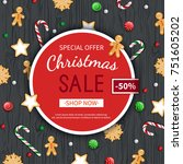 christmas sale flyer template.... | Shutterstock .eps vector #751605202