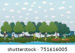 walking with dog in the park... | Shutterstock .eps vector #751616005