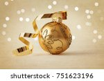 gold christmas ornament and...   Shutterstock . vector #751623196