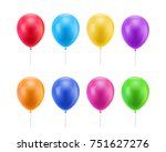 colorful realistic ballons.... | Shutterstock . vector #751627276