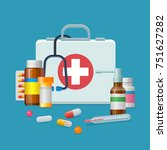first aid kit medicine cartoon... | Shutterstock . vector #751627282