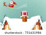santa claus with reindeer... | Shutterstock .eps vector #751631986