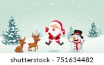 cartoon santa claus  reindeer... | Shutterstock .eps vector #751634482