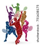 tennis players   men and women... | Shutterstock .eps vector #751638175