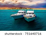 tourist white boat in sea at... | Shutterstock . vector #751640716