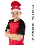 Pre-teen boy wearing a santa hat looiking happy isolated on white - stock photo