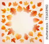 autumn background with leaves. | Shutterstock .eps vector #751653982