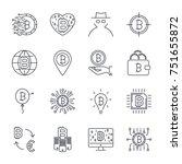 set of vector bitcoin line...   Shutterstock .eps vector #751655872
