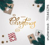 merry christmas background with ... | Shutterstock .eps vector #751661296