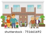 two families home   duplex home.... | Shutterstock .eps vector #751661692