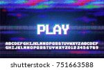 Stock vector vector play alphabet letters font phrase in pixel art style with screen glitch vhs effect s and 751663588