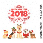happy new year 2018 greeting... | Shutterstock .eps vector #751665505