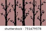 Birch Grove Background. Vector...