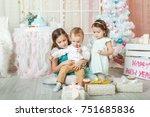 children in a christmas... | Shutterstock . vector #751685836