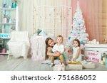 children in a christmas... | Shutterstock . vector #751686052