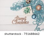 merry christmas blue holiday... | Shutterstock . vector #751688662