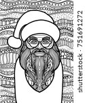 drawing santa claus zentangle... | Shutterstock .eps vector #751691272