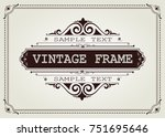 vintage frame with beautiful... | Shutterstock .eps vector #751695646