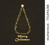 golden christmas tree with star ... | Shutterstock .eps vector #751696288