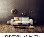 modern living room  with white... | Shutterstock . vector #751696948