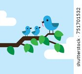 blue bird feeding her children... | Shutterstock .eps vector #751701532