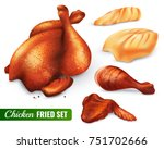 fried chicken set with hen leg... | Shutterstock .eps vector #751702666