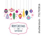 colorful retro baubles... | Shutterstock .eps vector #751702816