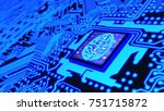 blue glowing circuit board and... | Shutterstock . vector #751715872