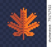 yellow knitted leaf. pixel art... | Shutterstock .eps vector #751717522