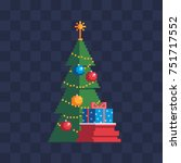 christmas tree with presents... | Shutterstock .eps vector #751717552