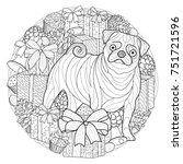 christmas coloring page | Shutterstock .eps vector #751721596