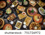 bbq and beer restaurant dishes...   Shutterstock . vector #751726972