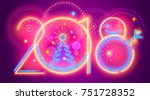 colorful new year line numera....   Shutterstock .eps vector #751728352