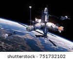 two spacecraft is preparing to... | Shutterstock . vector #751732102
