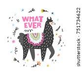 charming lama vector... | Shutterstock .eps vector #751734622