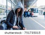 beautiful young woman waiting... | Shutterstock . vector #751735015