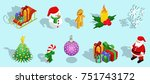 isometric christmas icons set...