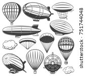 vintage airship collection with ... | Shutterstock .eps vector #751744048