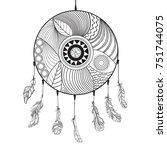dreamcatcher. feathers. tattoo... | Shutterstock .eps vector #751744075