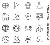 thin line icon set   globe ... | Shutterstock .eps vector #751759822
