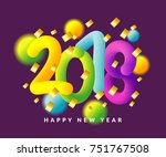 happy new year 2018 background. ... | Shutterstock .eps vector #751767508