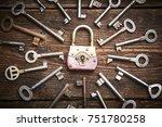 vintage rusty padlock...   Shutterstock . vector #751780258