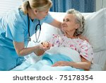 nurse cares for a elderly woman ... | Shutterstock . vector #75178354