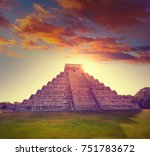 Chichen Itza Pyramid Sunrise El - Fine Art prints