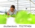 women farmer are taking care of ... | Shutterstock . vector #751797406