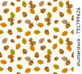 seamless pattern acorn and... | Shutterstock .eps vector #751799626