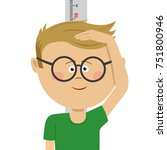 little nerd boy measuring... | Shutterstock .eps vector #751800946
