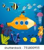 cartoon yellow submarine... | Shutterstock .eps vector #751800955