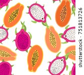papaya and dragon fruit... | Shutterstock .eps vector #751813726